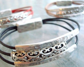 Multi Strand Leather and Silver Tube Bracelet - Magnetic Clasp - Custom Leather Bracelet - Unisex - Ladies - Mens