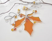 Stained Glass Suncatcher. Rich Amber/Yellow Maple Leaf.