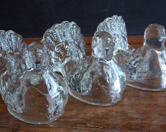Heavy Clear Glass Dove Candle Holders