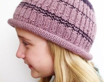 Beanie, Handknit Hat Dusty Rose Knit Beanie, Man Hat Women Teen, Child Beanie Handknit Beanie, Knitted Purple Hat, Beanie Gift