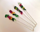 Swizzle Sticks- Holiday Colors- Fused Glass- Entertaining- Cocktails- Green, Red, Amber