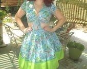 Flamingo Playskirt Ensemble Crop Top and Full Skirt Turquoise and Pink Tropical PinUp Rockabilly Viva Las Vegas Summer Fun