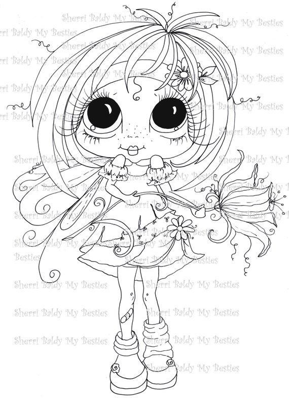 INSTANT DOWNLOAD Digital Digi Stamps Big Eye Big Head Dolls Digi Fairy Kitty IMG359 Garden Flower Fairy Petals  By Sherri Baldy