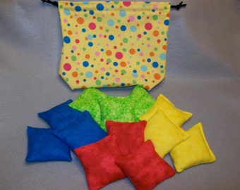 "3"" Primary Color Bean Bags - Set of 12 with Draw String Storage Bag - Ready to Ship!"
