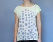 Silk Dots Shirt Chartreuse and Gray. Readymade