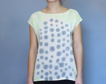 Silk Dots Shirt Chartreuse and Gray. Readymade