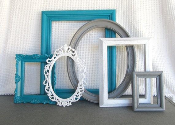 teal grey white vintage picture frames set of 6 upcycled. Black Bedroom Furniture Sets. Home Design Ideas