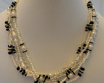 Pink, Black, and Silver Multi Strand Necklace