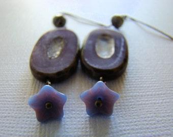 Dangle Earrings, Purple, Brown, Blue, Antique Bronze, For Her, Boho, Czech Glass
