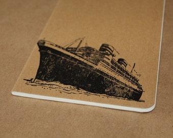 Vintage Cruise Liner Ship Lined Journal