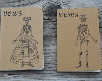 Skeleton Bride & Groom Wedding Vow Books