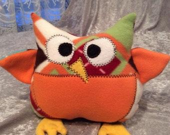 Orange Plaid Owl