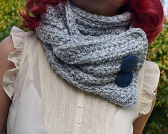 White and blue speckled crochet scarf, cowl, neckwarmer
