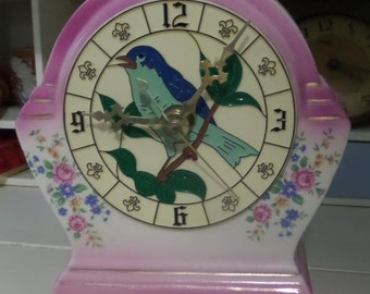 Ceramic Clock Blue Bird