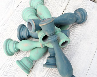 Set of 8 SHABBY CHIC Mint and Teal Green Chippy Candle Holders