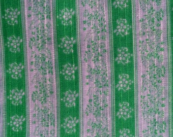 2 Yards  Vintage Striped Floral Fabric