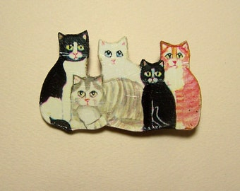 FIVE CATS BROOCH - Decoupaged & Painted Wood Pin - Signed