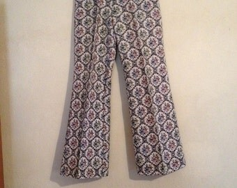 Light weight tapestry 70s  retro hippie flare pants