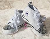 Swarovski Bling Baby White Converse Booties