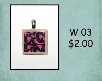 Pink and Black - Wood Tile Pendant - W 03