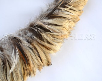 Wholesale / bulk feathers – Neck hackle Badger natural rooster feathers, real feathers, strung 10 in (25 cm)/ 3-4in (7.5-10cm) long / FB12-3