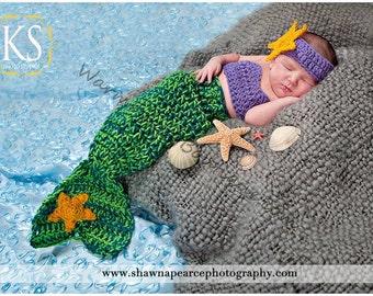 Instant Download PDF Crochet Pattern - No. 34 Baby Mermaid Cocoon Tail, Starfish Headband, & Top Set - 3 Sizes