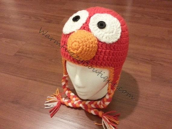 Baby Elmo Earflaps Hat - Crochet Newborn NB Beanie Boy Girl Costume Halloween  Christmas Winter Photo Prop Cap