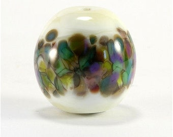 Handmade Lampwork Glass Bead Focal Blue Green Aqua Purple Cream Ivory SRA DUST Team LE Team