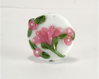 Handmade Lampwork Glass Bead SRA White Pink Green Floral Focal LE Team, DUST Team