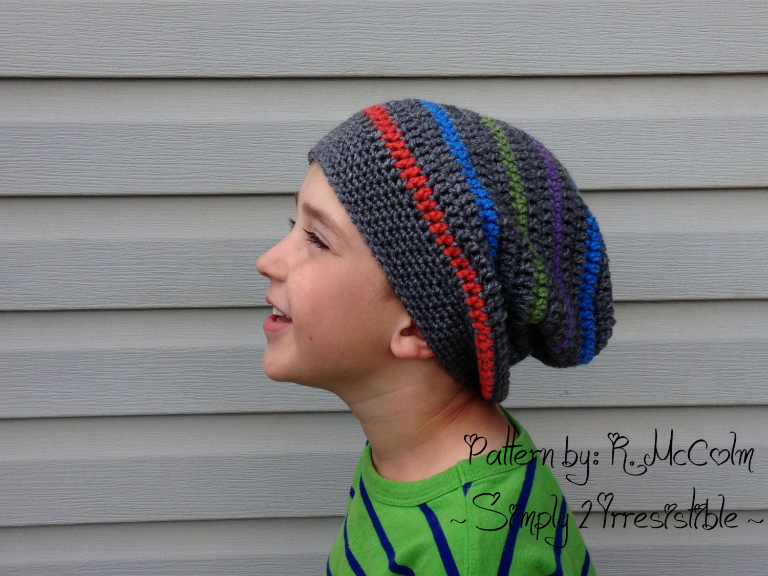 Crochet Beanie Pattern Striped : Striped Slouchy Hat Beanie Crochet Pattern Pattern Number 74