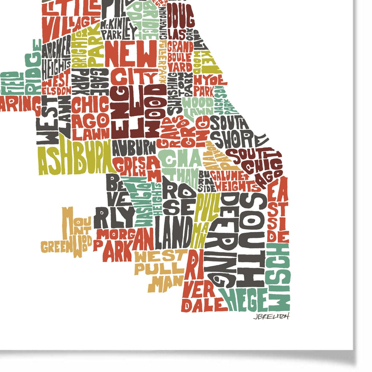 Chicago Typography Map Art Print Featuring Its By Joebstudio