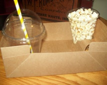 Kraft Brown Drink Holder and Food Tray ,Birthday Movie Night Birthday Party Picnics  Set of 15