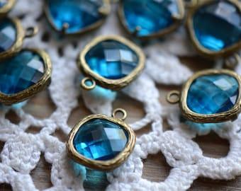 Square Jewel Charms INDICOLITE Drop Gem Jewels Square 12mm Antique Bronze Plated Brass Bezel ...