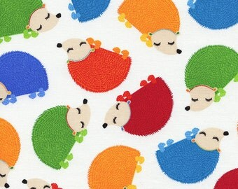 Timeless Treasures - Fun Rainbow Jamboree Hedgehogs - White - Novelty Fabric-Choose Your Cut 1/2 or Full Yard