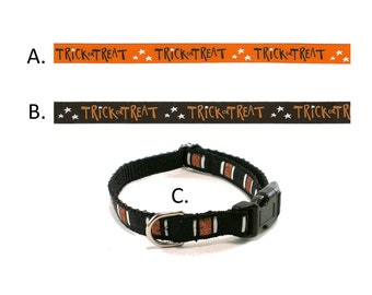 "SALE Thin Halloween dog collar - Trick or Treat - Spooky Stripes - 1/2"" (13mm) Wide - Side Release Dog Collar - Choice of pattern and size"