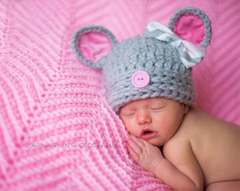 mouse hat, baby mouse hat, newborn mouse hat, crochet mouse hat, baby hat, girls hat, newborn hat, newborn girls hat