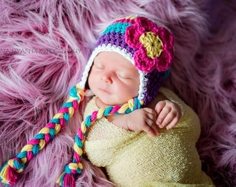 baby hat, baby girl hat, newborn girls hat, crochet girls hat, girls hat, newborn hat, earflap hat.