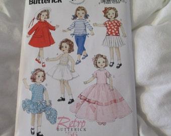 """Butterick 6000 18"""" Doll Wardrobe Retro 1956"""