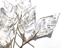 SUPPLY: 10 Large Clear Glass Leaf Headpins - Embedded Brass Wire Glass Drops - 38mm - (4-E2-00003356)