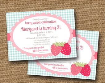 Strawberry Party Invitation | Berry Sweet Birthday Invite | Little Girl's Summer Birthday | Christian, Scripture Invitation | DIY PRINTABLE