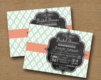 Ikat Shower Invitation | Printable Ikat Wedding Invite | Ikat & Chalkboard Christian Bridal Shower Invitation | U Pick Color | DIY PRINTABLE