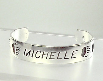 "Hopi Indian 925 Bear Claw Cuff Custom Monogrammed ""Michelle"", Sterling NOS Cuff Bracelet, Native American 925 Fetish Bear Claw"