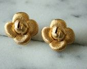 Vintage ST JOHN Gold Rose Clip On Earrings