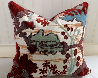IN STOCK / Red, teal, and White Ikat Pillow Cover / 18 X 18 / Designer Robert Allen fabric