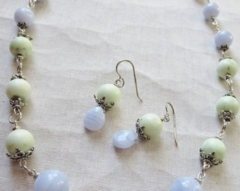 Blue Lace Agate Lemon Chrysoprase Sterling Silver Necklace and Earring Set