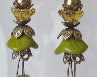 Olive and Gold Glass Flower Earrings with Polished Natural Brass