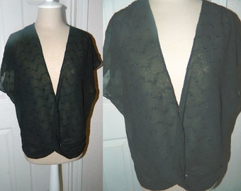 Women's Black Pullover Vest - Embroidered Gauze Fabric - Size Large