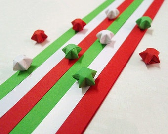Origami Lucky Star Paper Strips Red White and Green Star Folding - Pack of 100 Strips