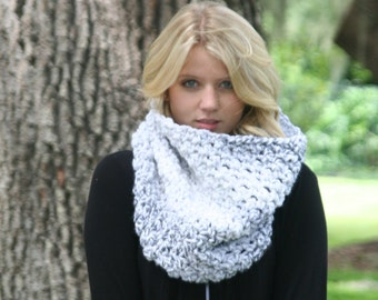 Chunky Cowl Scarf  Neck Warmer / THE LECONTE / Textured Big Circle Crochet Scarf Marble Glacier