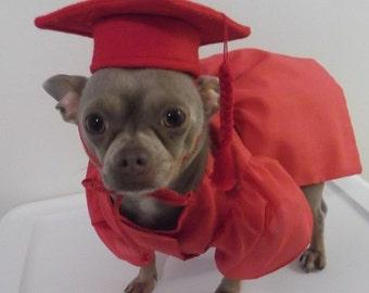 Pet Graduation Cap and Gown, Dog Cap and Dog Graduation Gown, Therapy Dog Graduation Cap and Gown, Pet Costume, Dog Costume, Pet Clothes